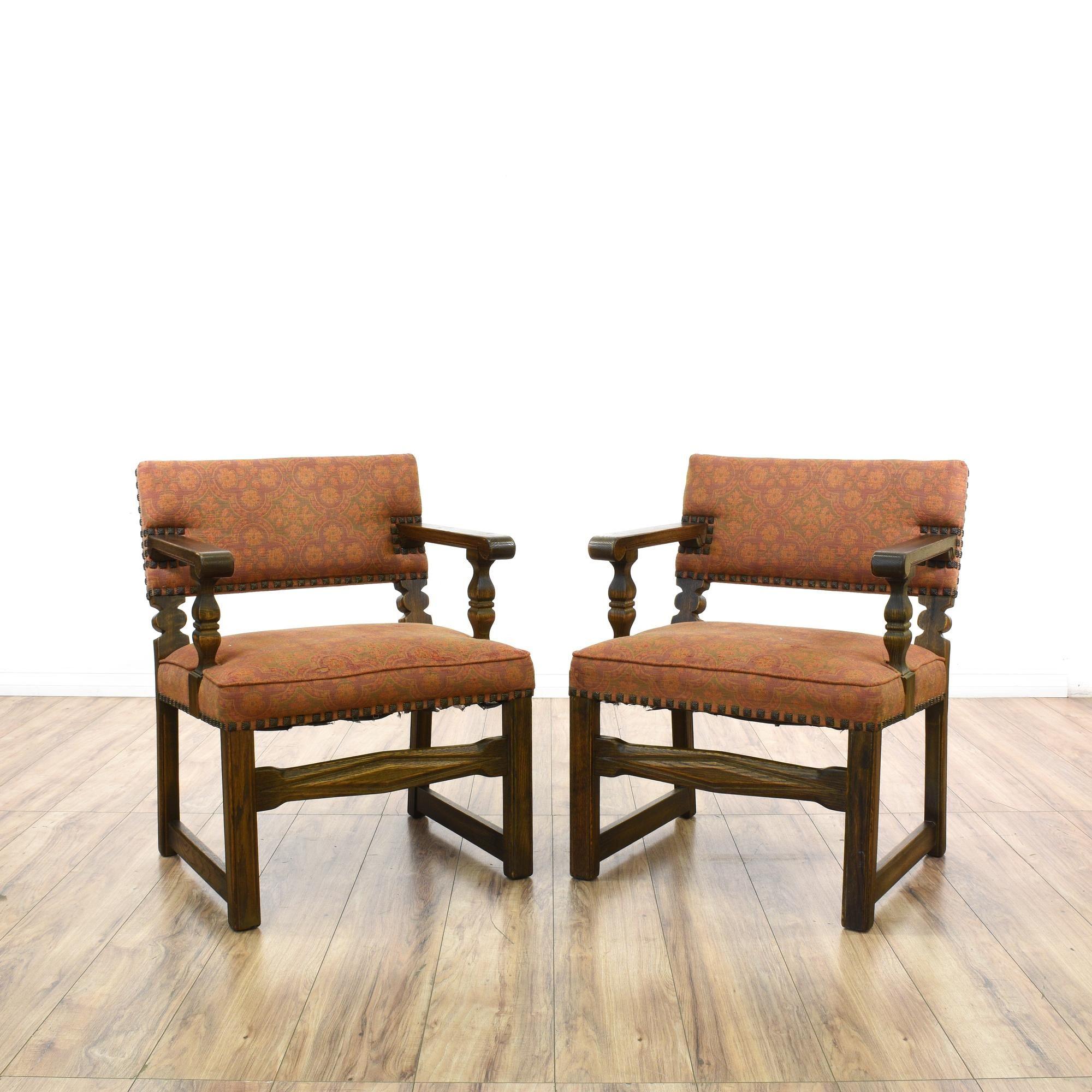 Pair Orange Spanish Revival Accent Chairs