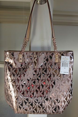 84fe737bf21e NWT Michael Kors MK Rose Gold Mirror Metallic NS Jet Set Chain Tote Bag  248