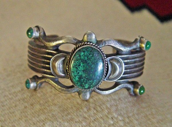 Navajo Bracelet Martha Cayatineto Green Turquoise And