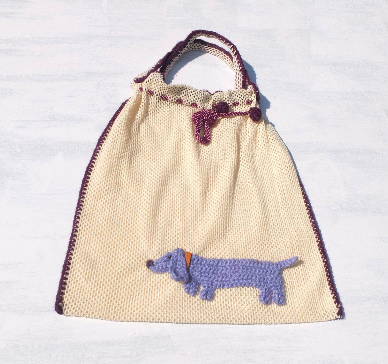 Market bag with dashshund, mesh tote bag, grocery bag, beach bag, ecru purple, eco friendly tote bag, reusable tote bag, dog, doggy - pinned by pin4etsy.com