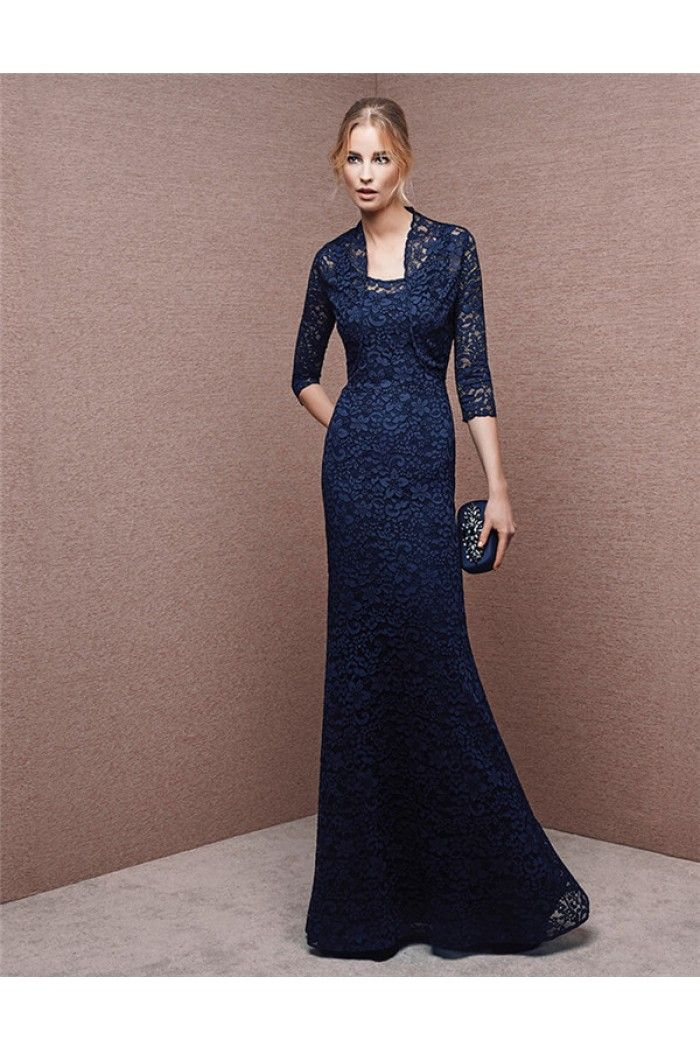 Mermaid scoop neck navy blue lace formal evening dress for Designer bolero