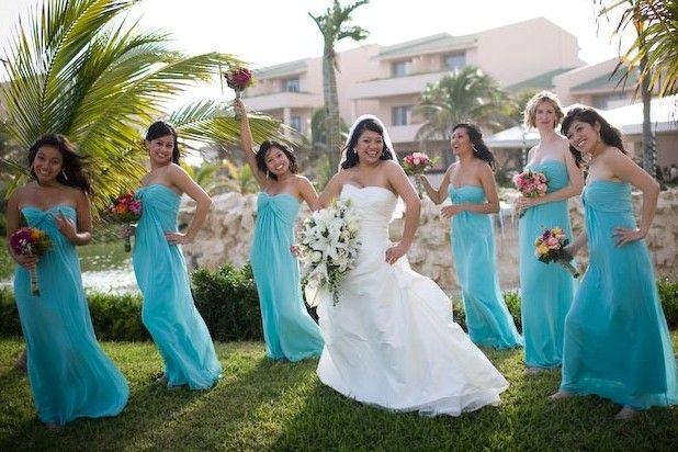 Asian bridesmaids in long tiff blue chiffon + bride in white gown ...