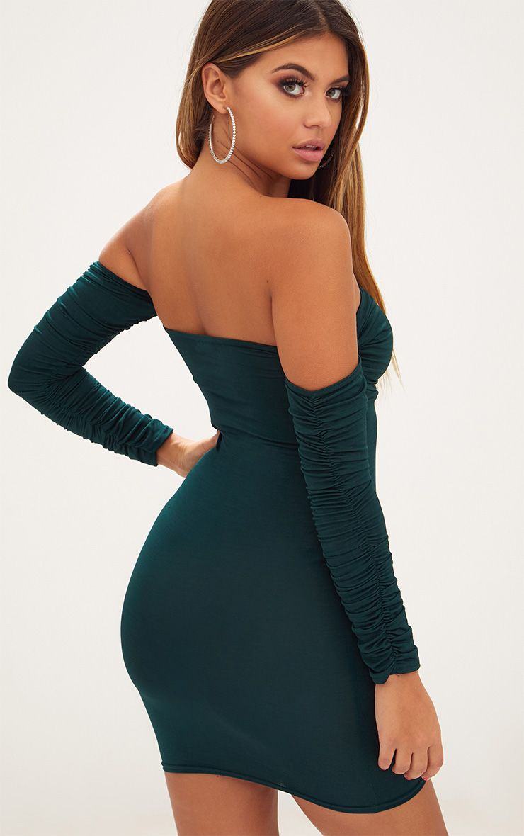 5f646d6880 Emerald Green Ruched Front Ruched Arm Bardot Bodycon Dress |  PrettyLittleThing USA