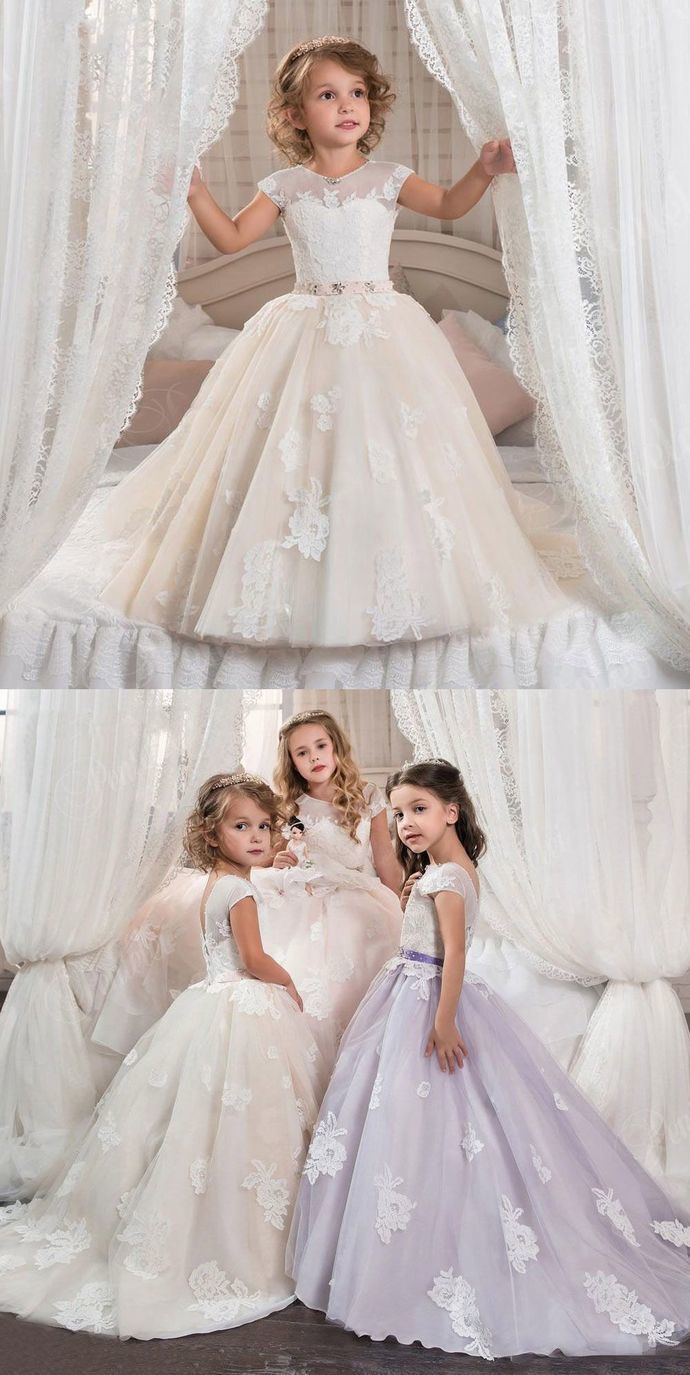 Tulle applique flower girl communion formal party prom ball gowns