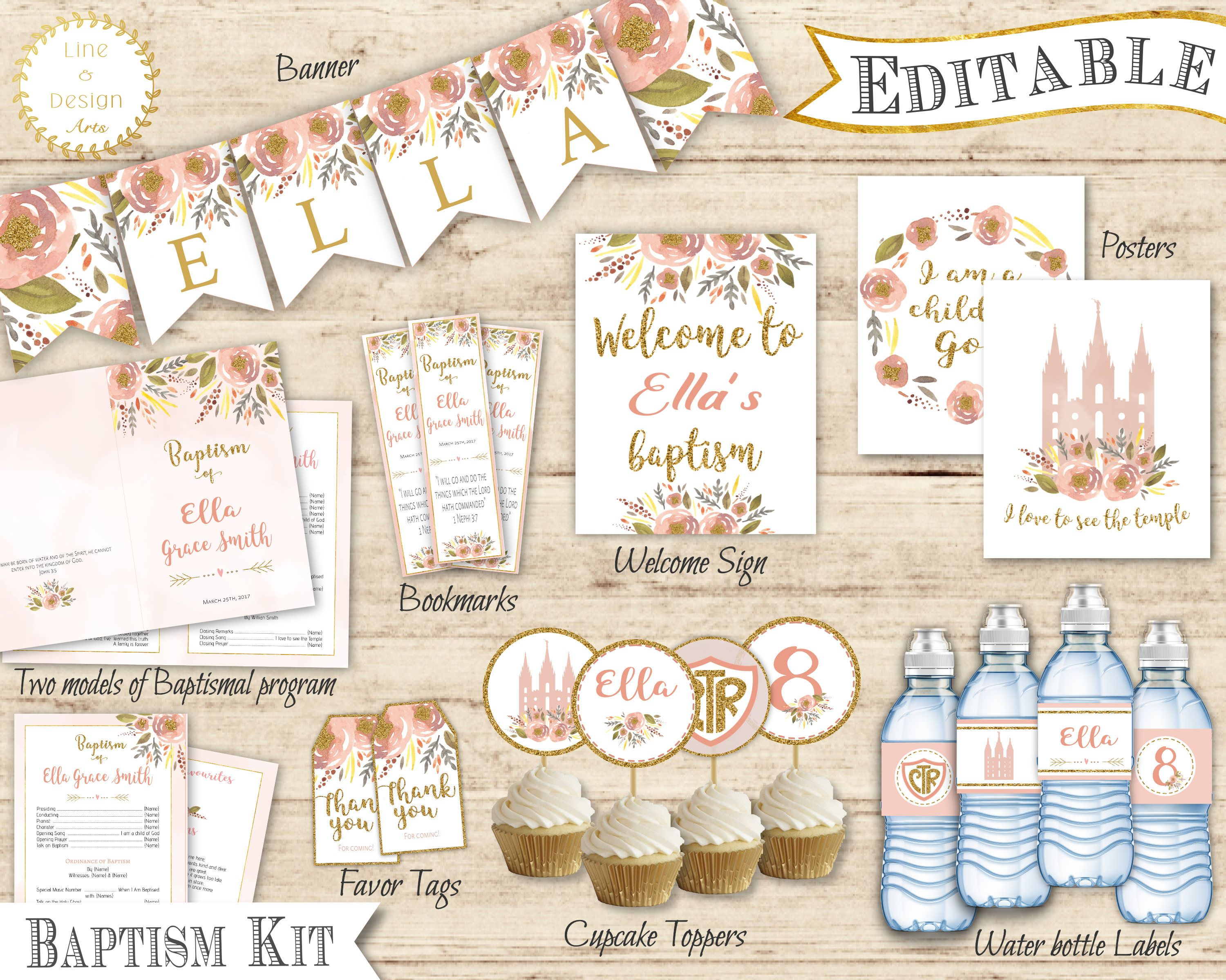 Lds Baptism Kit Girl Editable Baptism Program Toppers Tags Banner Flags Book Markers Water