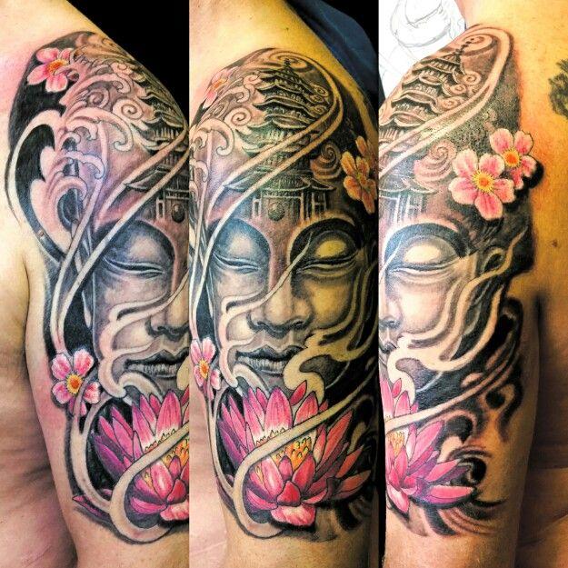 Buddhist Half Sleeve Tattoo: Buddha And Thai Temple,oriental Half Sleeve.