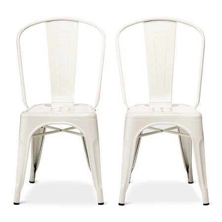 Set Of 2 Carlisle High Back Metal Dining Chair White Ace Bayou