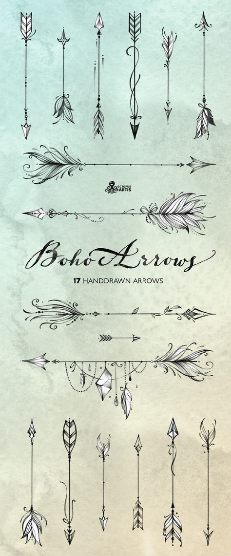Boho Arrows. 17 hand drawn Clipart. Tribal, native diy elements, logo, invitation, pencil, transparent, digital png, style, tattoo, romantic