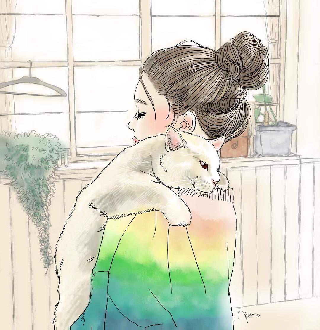 穏やかな休日 大きな重さのある猫ちゃんと女の子 ゆるいお団子ヘアが なんだか昔から好きなんです ガールズイラスト ファッション イラスト 白猫 猫