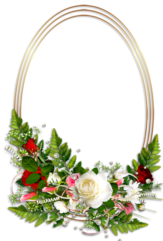 Oval Transparent Photo Frame with Flowers Flower frame