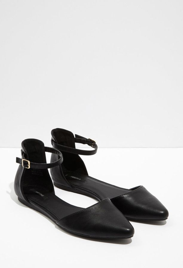 FOREVER 21 Pointed Ankle-Strap Flats