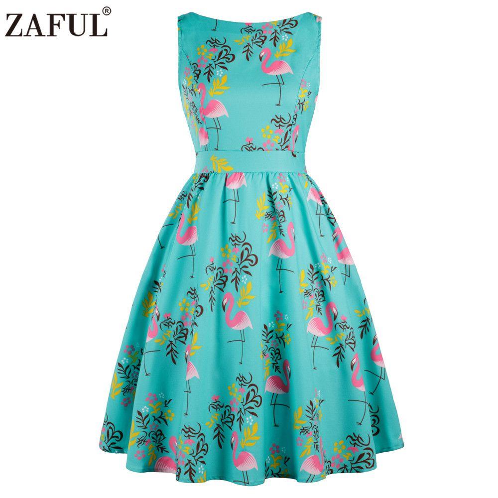 ZAFUL Plus Size 3XL Women Summer Rockabilly Swing Vintage Dress ...