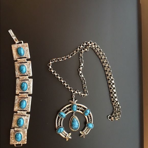 """Turquoise Necklace and Bracelet Set Beautiful hand crafted turquoise and metal necklace and bracelet set. Necklace is 25"""" and bracelet 8.5"""" including clasps. Jewelry Necklaces"""