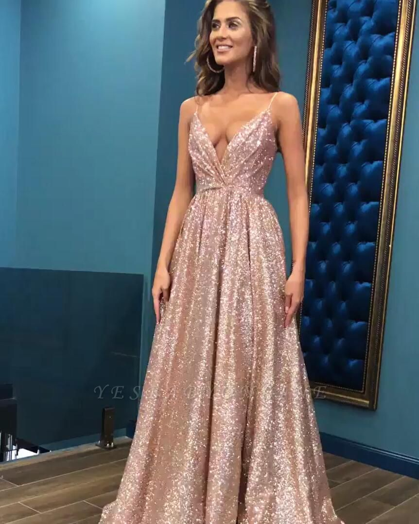 Sexy Sequins Simple Spaghetti Straps Evening Dresses   2019 Cheap Open Back Sleeveless Prom Dress BC0494