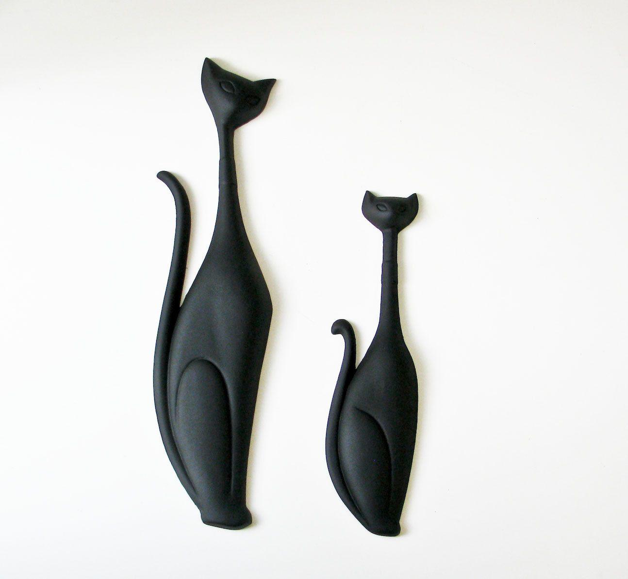 Cat Wall Decor mid century modern black cat plaques - wall art | cool cat