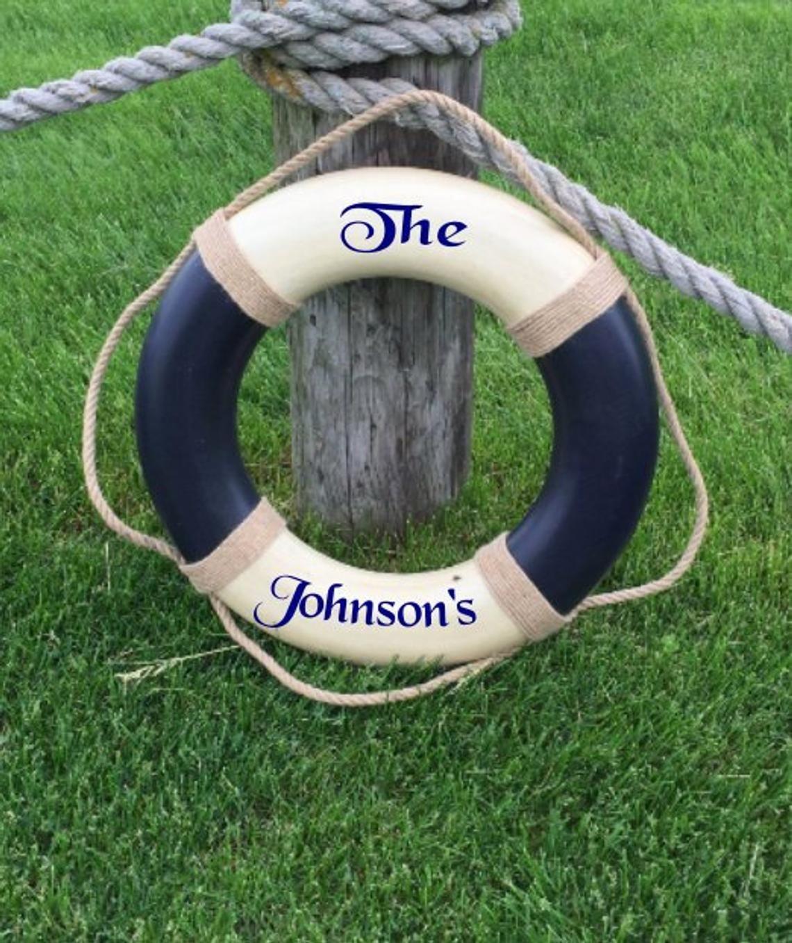 Custom Last Name Nautical Decor Life Ring Custom Beach
