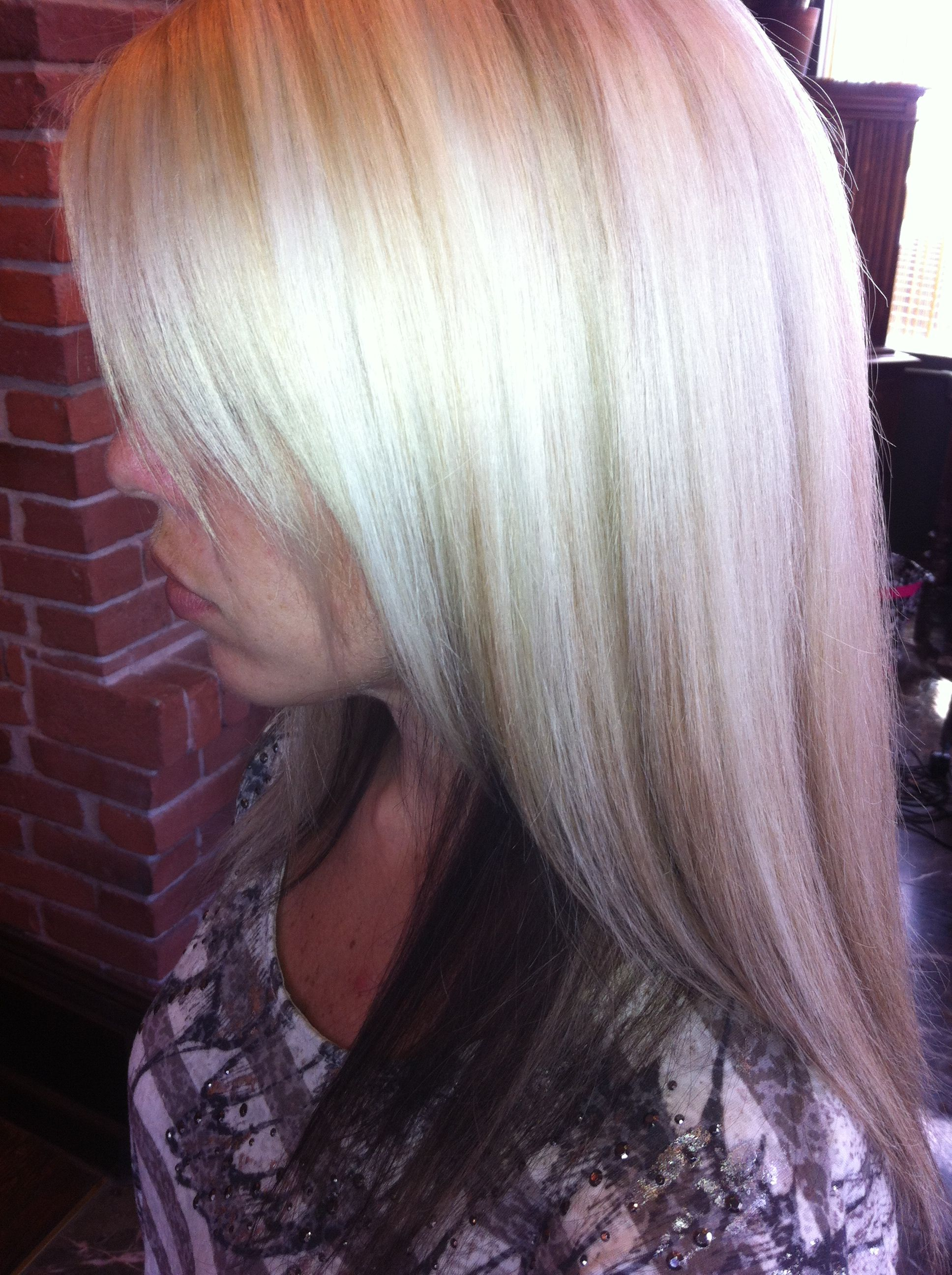 Platinum blonde with dark undertones Its hairy out there