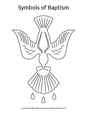 Symbols Of Baptism Coloring Page High Res Pdf Baptism Banner