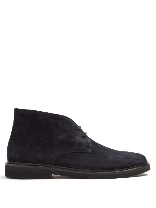 A.P.C. Grey Suede Lace-Up Boots