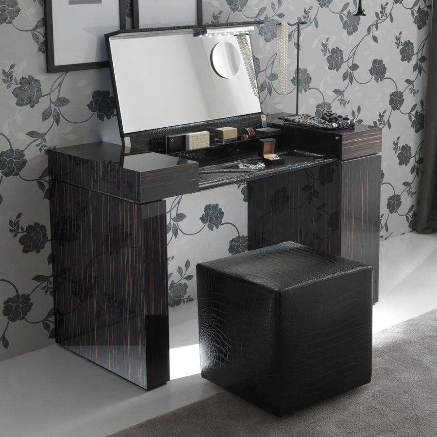 Modern dressing table with mirror - Open Bild Up Dressing Table Design Ideas With Wooden Black Color Materials With Square Shape Great