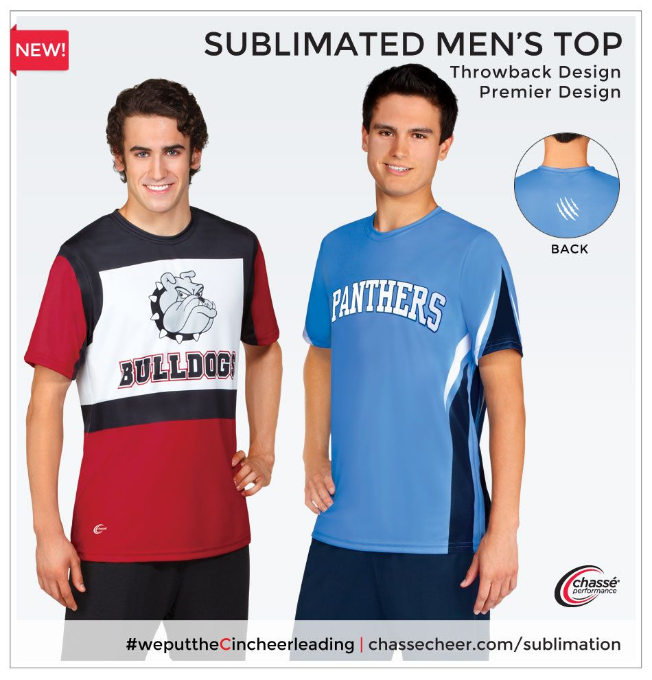 We've got Sublimated Men's Wear! The Throwback and Premier Designs are perfect for coed #cheer performances.