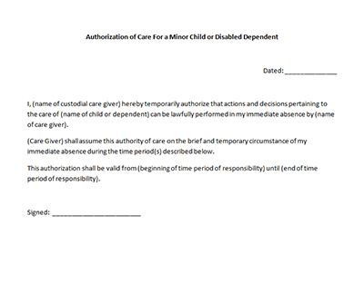 Care Authorization Form Sample Template