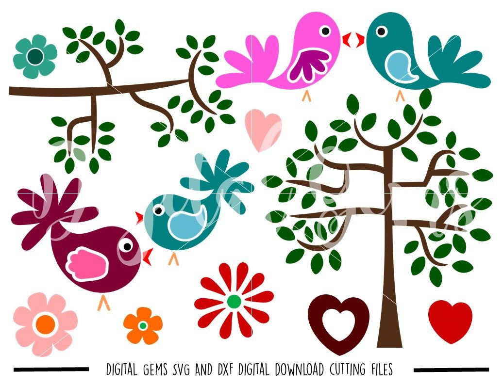 Birds, Trees, Flowers SVG / DXF Cutting Files for Cricut Design Space / Silhouette Studio & PNG Clipart, Digital Download, Commercial Use Ok by DigitalGems on Etsy