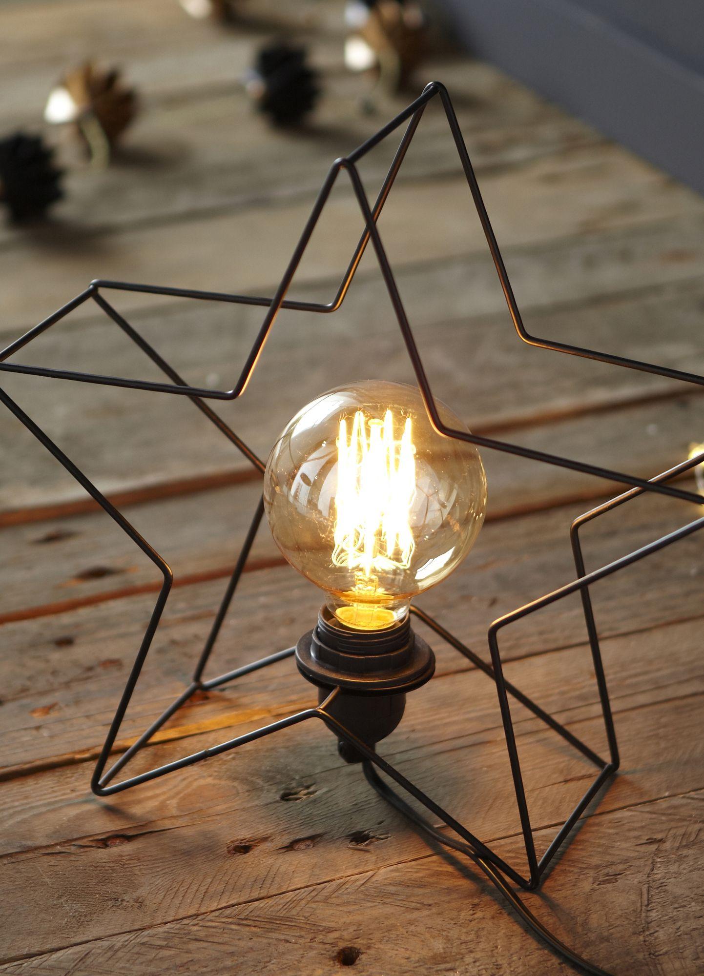 étoile lum Lampe  poser en métal noir forme étoile H24cm