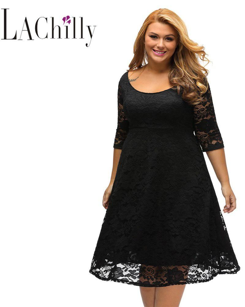New 2018 Big Girl Plus Size White Floral Lace Sleeved Fit and Flare Curvy  Dress Vestidos bbb4eadea11e