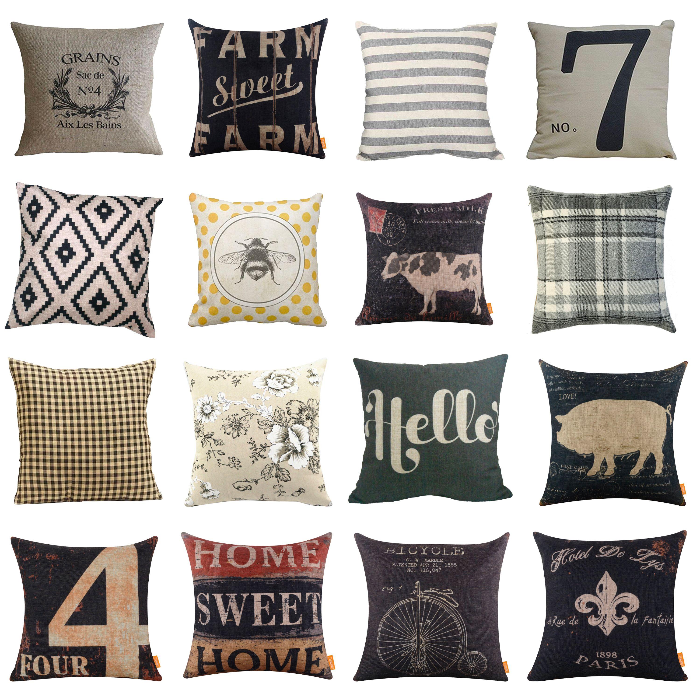 Farmhouse Throw Pillow Covers From Amazon Farmhouse Throw Pillow Throw Pillow Covers Rustic Throw Pillows