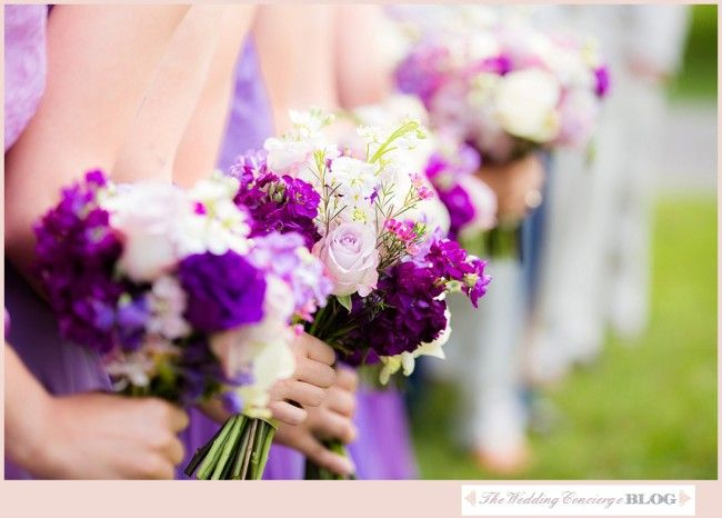 Purple and white wedding bouquets / Joel and Amber Wedding Photography / see more on thewedding-concierge.com