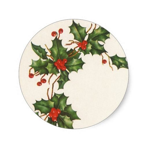 Vintage Christmas, Holly Plant with Red Berries Classic Round