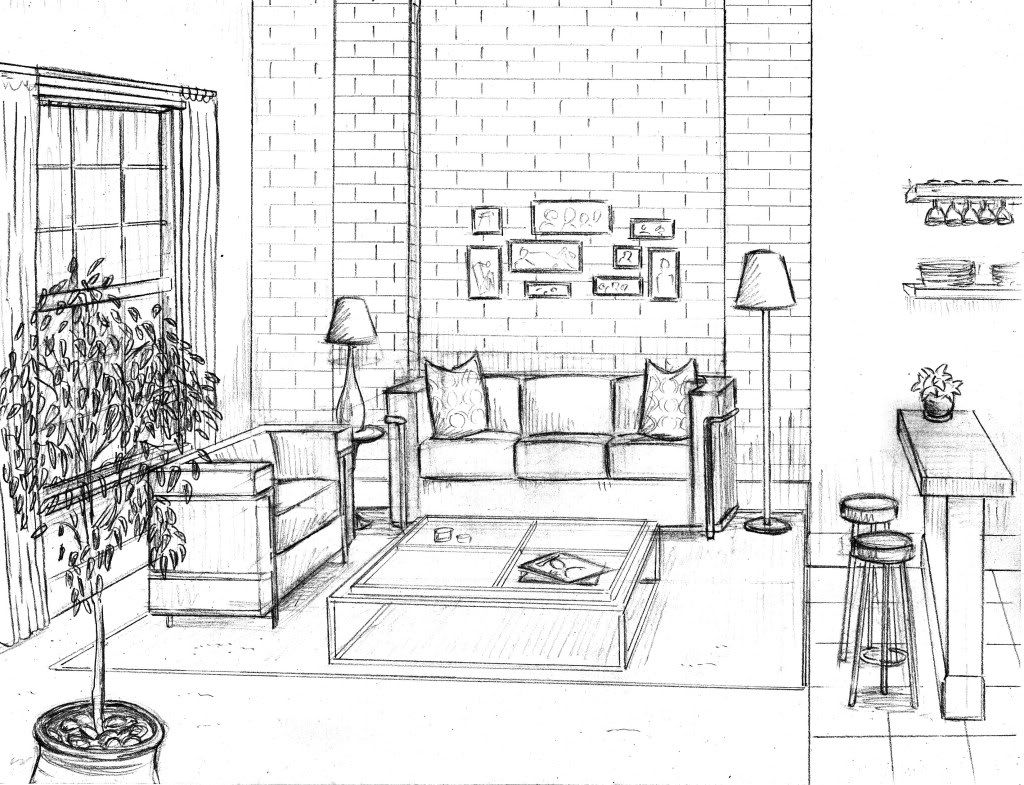 Dentyne perspective rooms buildings drawing interior - One point perspective living room sketch ...