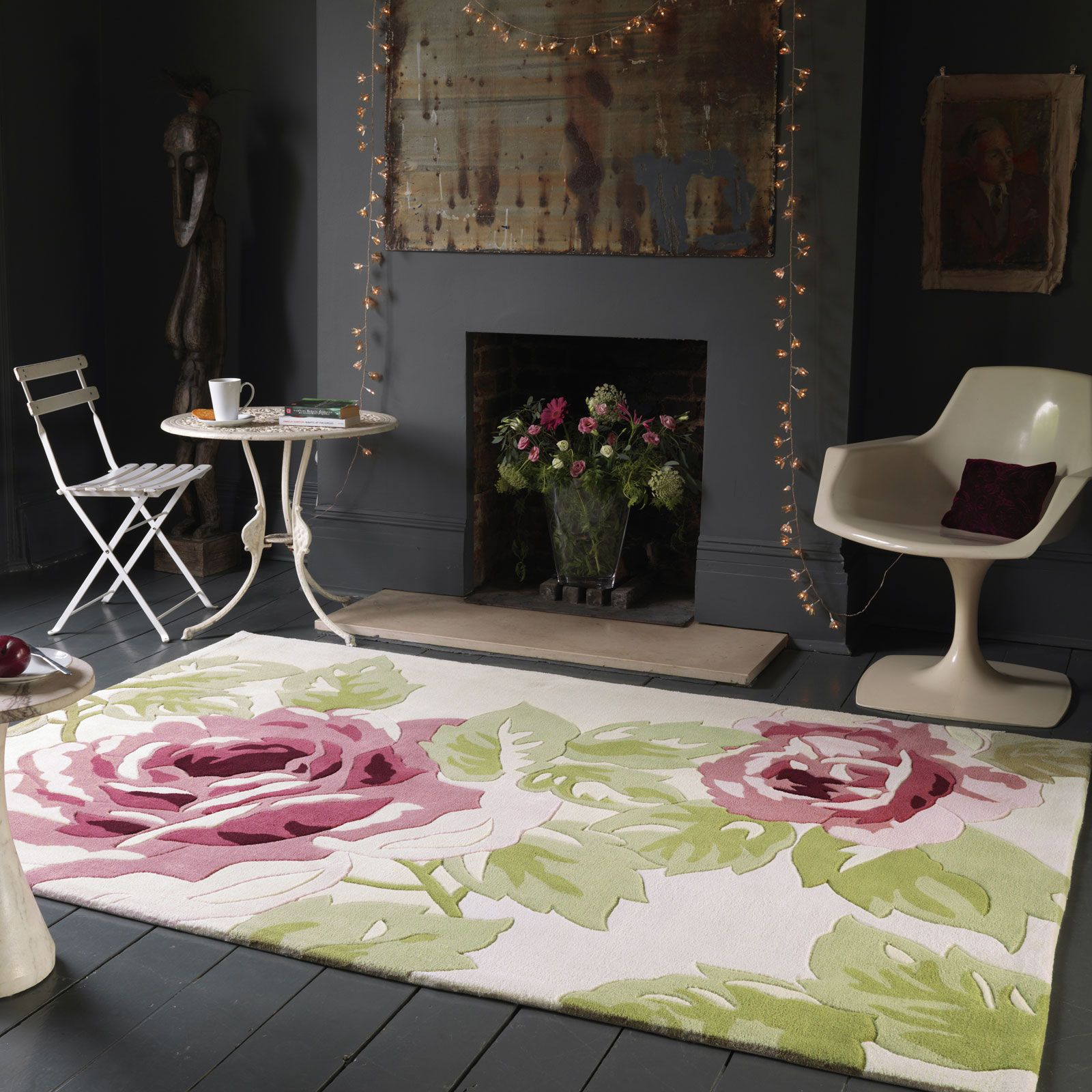 The Harlequin Rose Pink Rug Is Handmade In China And