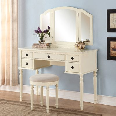 Stirling Vanity Set with Mirror Posts, Drawers and Style - Bedroom Vanity Table