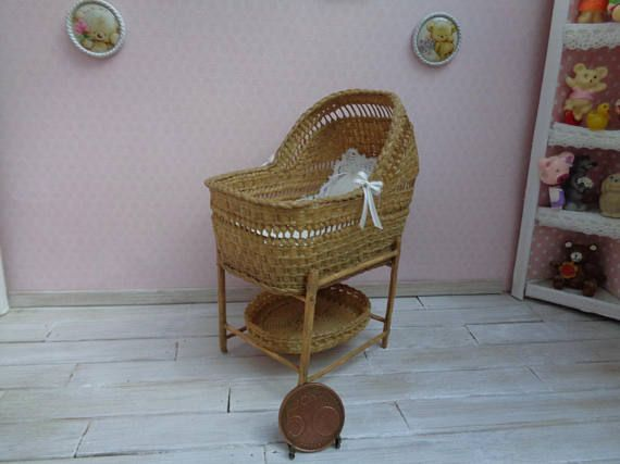 Dollhouse Miniature Wicker baby cradle crib baby Bed 1:12 ...
