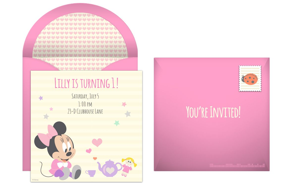 Plan An Adorable Minnie Mouse 1st Birthday Party From Punchbowl Disney Invitations Online