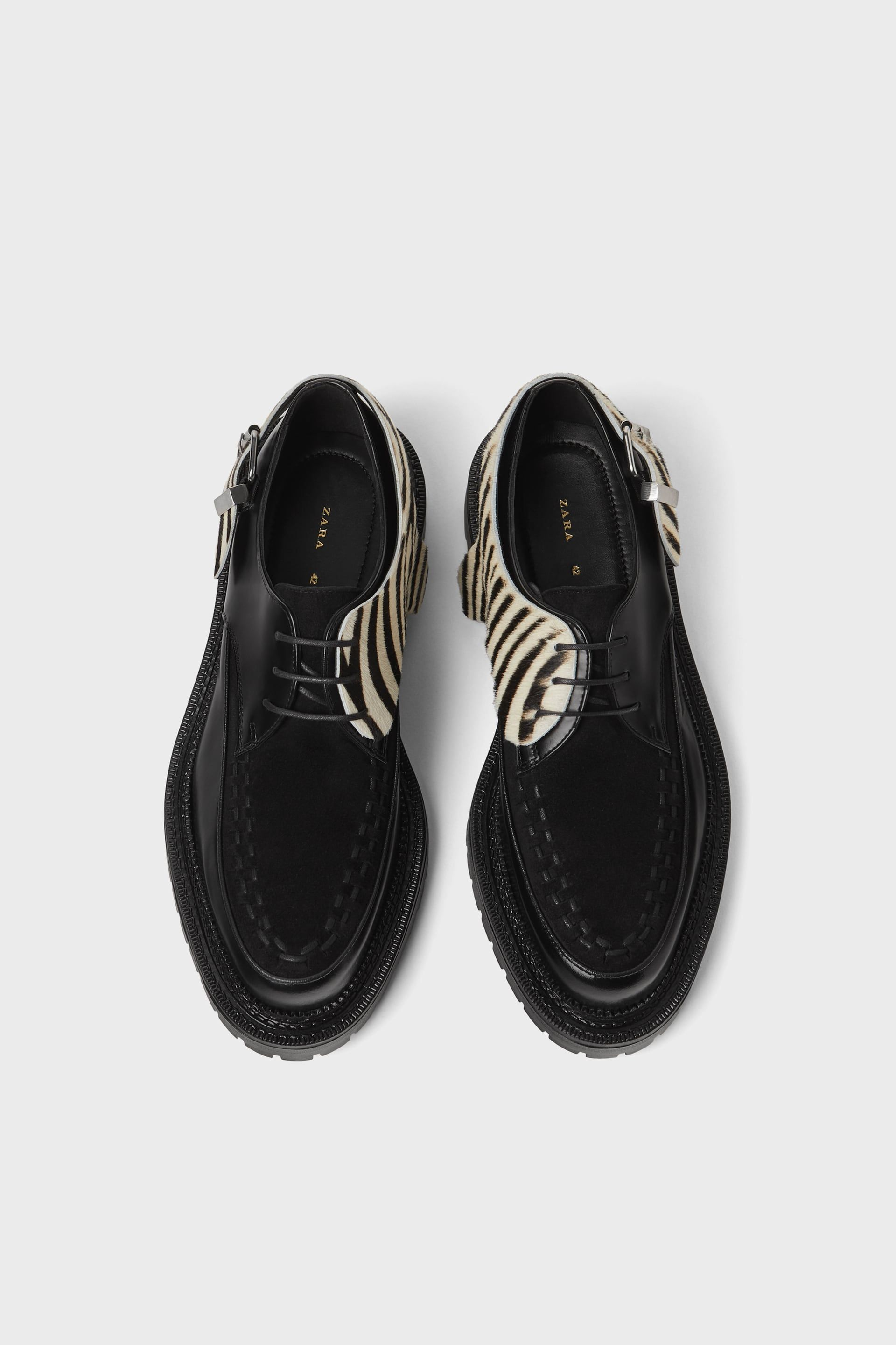 7525b0d58 ZARA BLACK LEATHER SHOES WITH ZEBRA PRINT DETAIL Mens Shoes Online