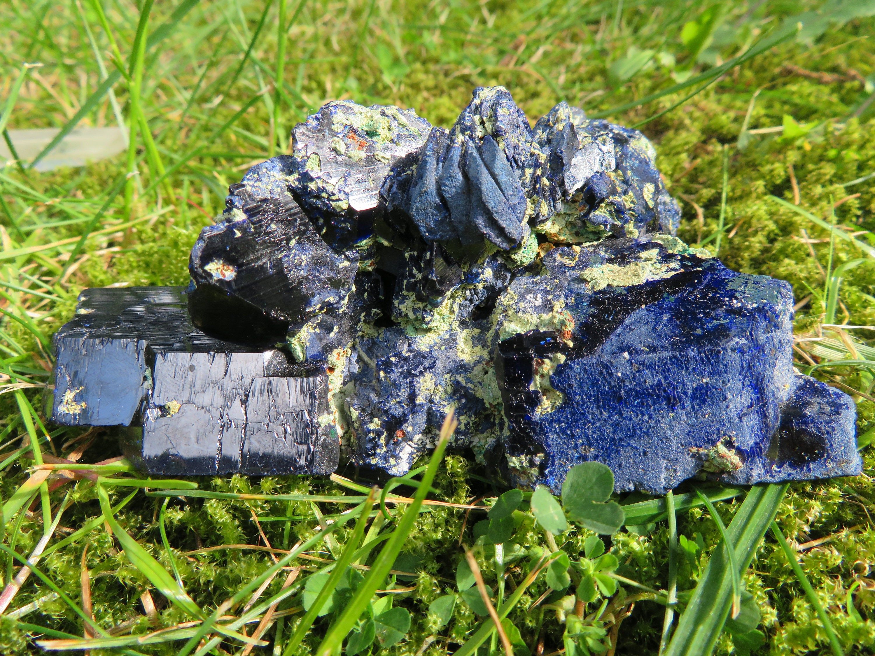 Lovely huge azurite malachite matrix with deep blue crystals