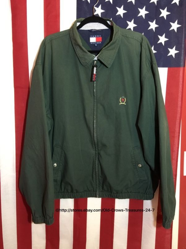 6510ff496 Vintage Tommy Hilfiger Green Crest Zip Up Harrington Jacket Size XXL ...