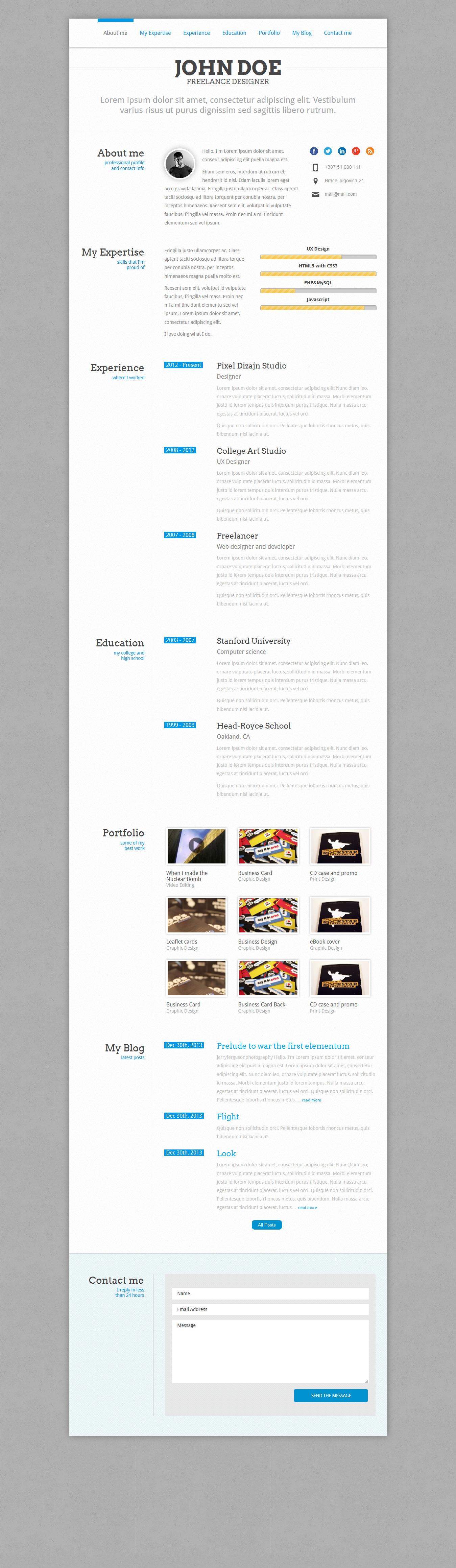 PerfectCV - Responsive CV / Resume Theme #webdesign #website ...