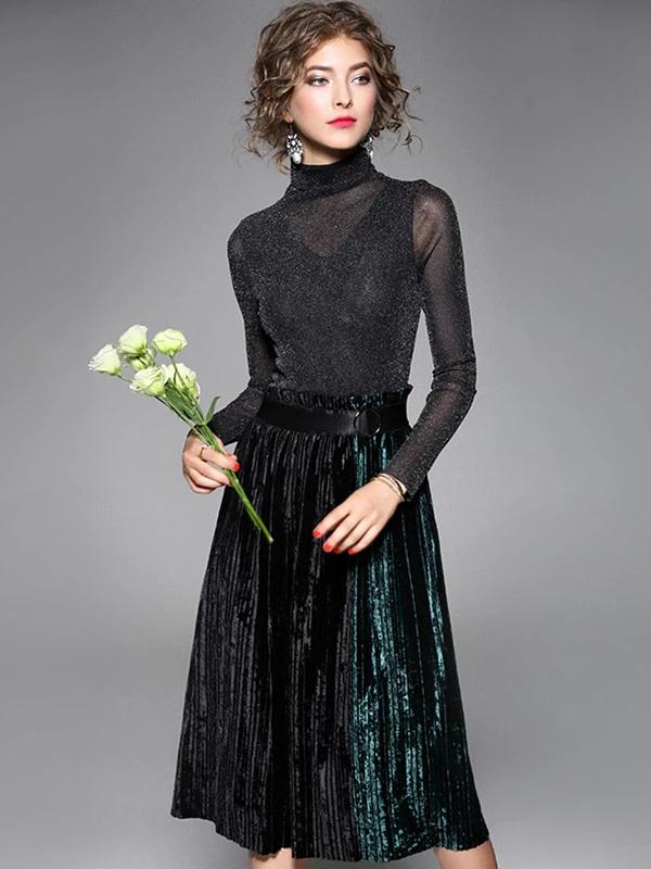 Velour Stitching High Collar Long Sleeve A-Line Dress ...