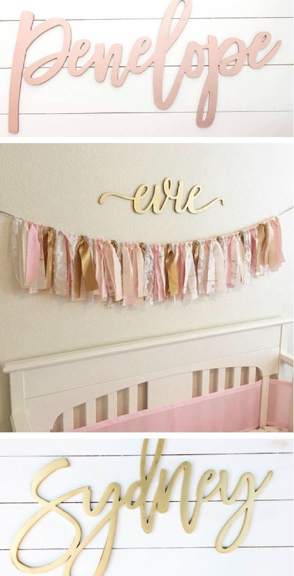 Custom Wooden Name Signs Baby Nursery Decor Beautiful Pink And Gold Wall Hanging Over The Crib Ad