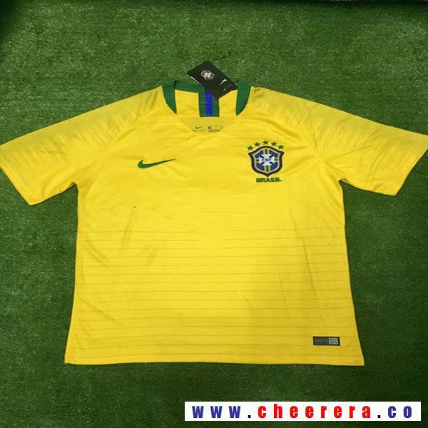 a6567d2f807 Men's Brazil Blank Home Yellow Thailand Short Sleeves 2018 World Cup Soccer  Jerseys