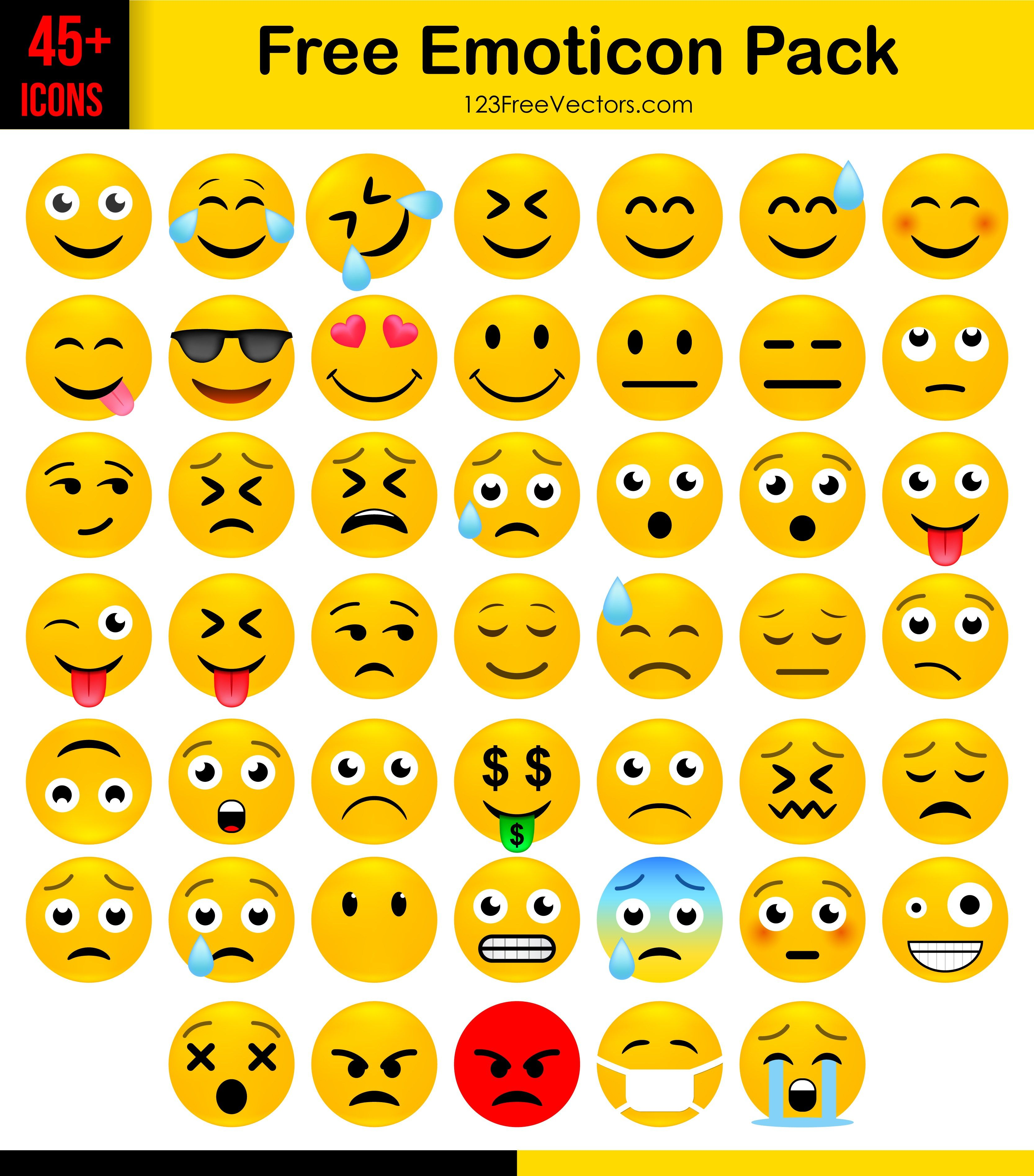 Free Emoticon Icons Pack Download Free emoji, Emoticon