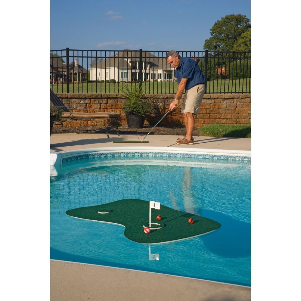 new aqua golf floating putting green mat practice patio poolside