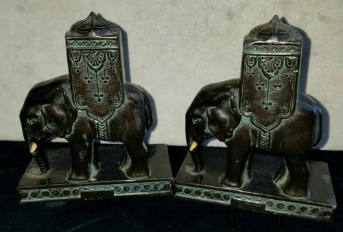Vintage-Art-Deco-RONSON-Elephant-Bookends-OPENING-BID-1-00