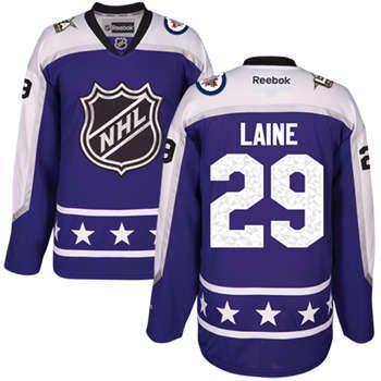 Mens Winnipeg Jets 29 Patrik Laine Purple 2017 All-Star Central Division  Stitched NHL ... d33645f76