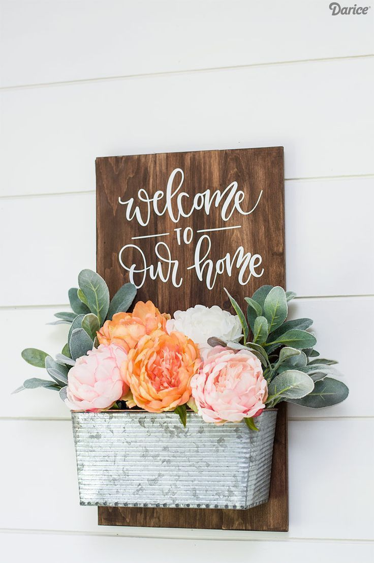 Photo of Front Door Welcome Sign –  Simple DIY  Welcome Sign – wood sign – planter DI…