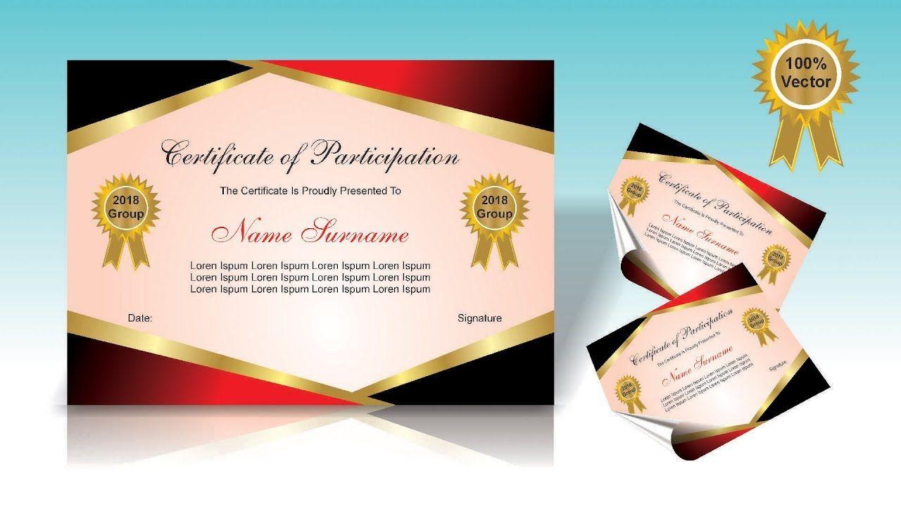Certificat Design Certificat Of Participation In Corel X7 Coreldraw Coreldraw Certificate Design Design